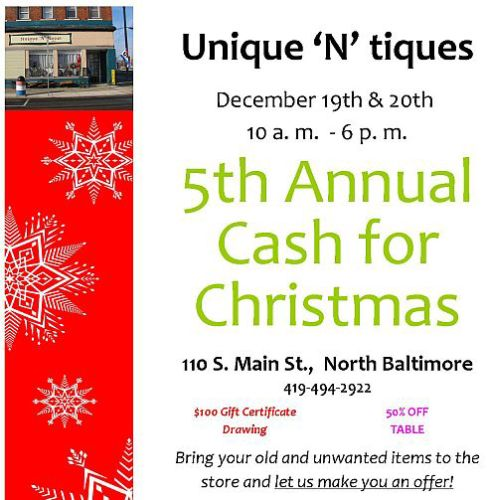 Unique n tique flyer Cash for Christmas 2014 feature