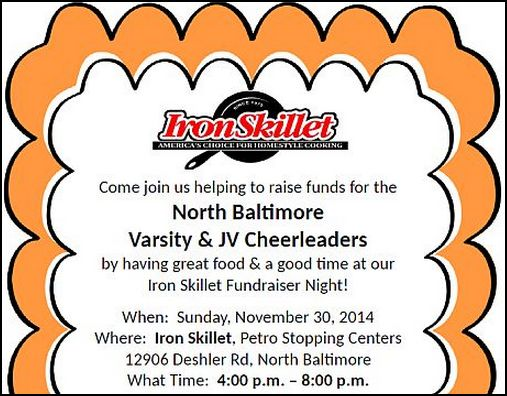 Iron Skillet Fundraiser Night for NBHS Cheerleaders