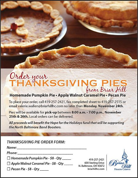 NBHS Band Briar Hill Pie Fundraiser flyer
