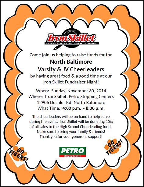 Petro Iron Skillet Cheer_Fundraiser flyer