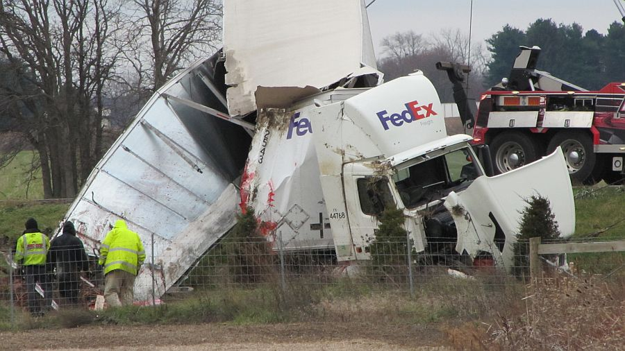"Wind contributes to 18-wheeler off road on SR 18 ""Expressway"""