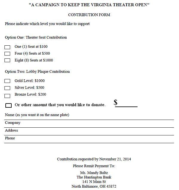 VMP Save Theater seat donation form line added