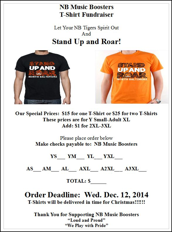 Music Booster T shirt Dec 2014 order form flyer