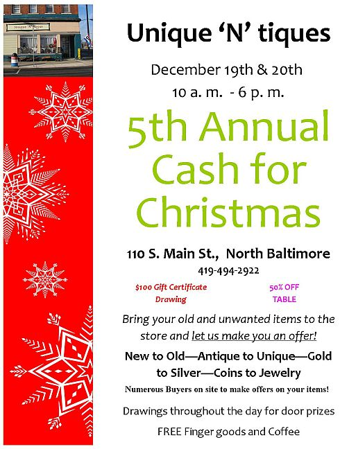 Unique n tique flyer Cash for Christmas 2014