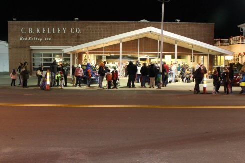 A long line of kids waited patiently to chat with Santa