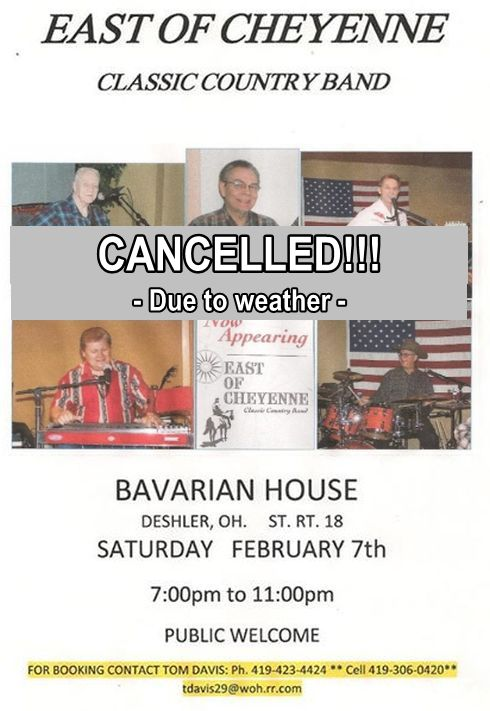 CANCELLED – East of Cheyenne at Bavarian House