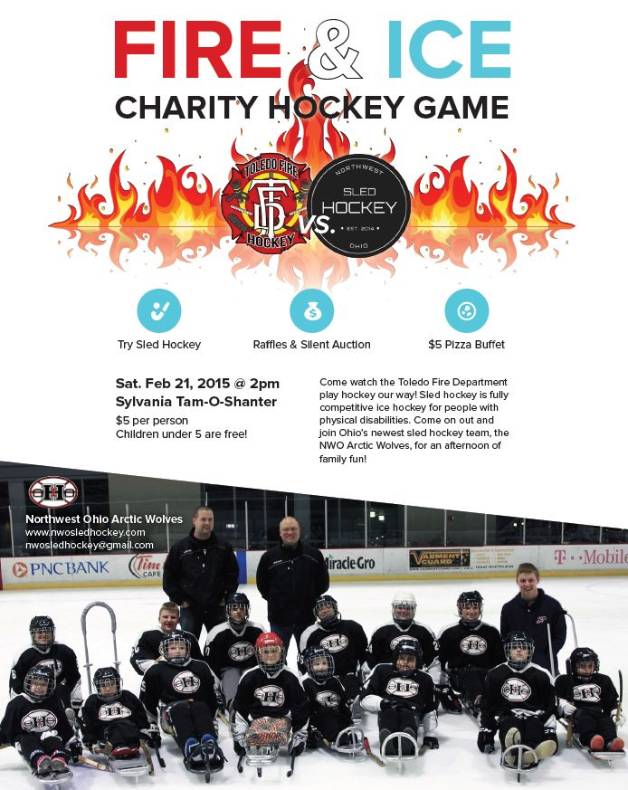 Sled Hockey flyer Fire and Ice