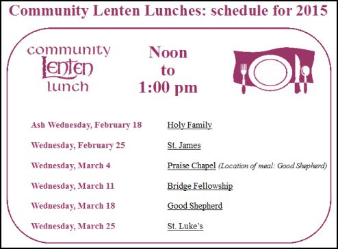 Weekly Schedule for Lent 2015