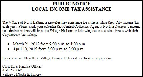 NB Village Public Notice - Income Tax Assistance
