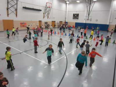 Kindergartners through 3rd graders jump their hearts out!