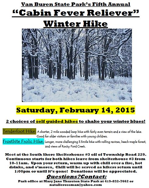 The 5th Annual Cabin Fever Reliever Winter Hike at Van Buren State Park