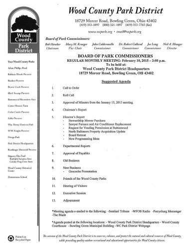 Wood County Park District Meeting Agenda 2-10-15