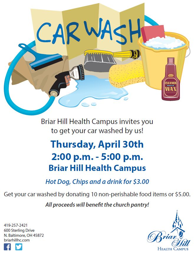 Thursday – Briar Hill Health Campus – CAR WASH Fundraiser for the NB Community Food Pantry