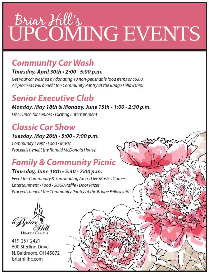 Briar Hill Upcoming Events flyer Spring 2015