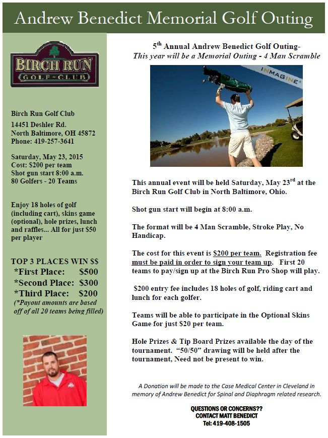 Drew-Bob Memorial 5th annual outing flyer