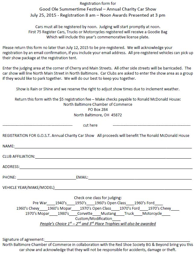 GOST FLYER 2015 Car Show Pre-registration form