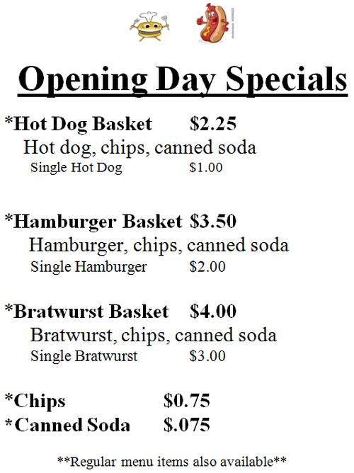 NB Little League Opening day specials 2015