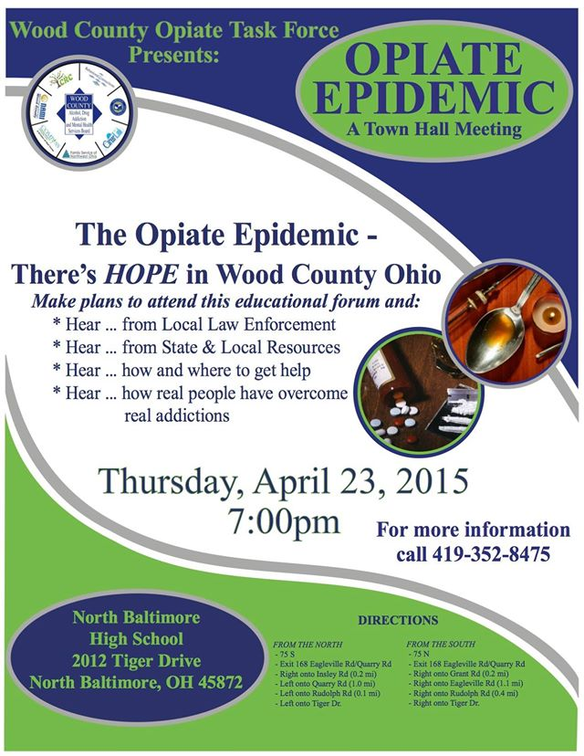 Town Hall Meeting Opiate Epidemic flyer