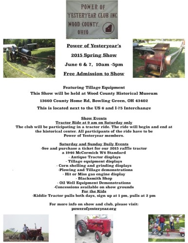 Wood Co Historical Power of Yesteryear 2015 flyer