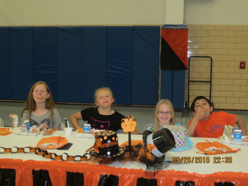 Kylie Grilliot, Cara Phillips, Alivia DeLancy and Gage McGee enjoy the special lunch.