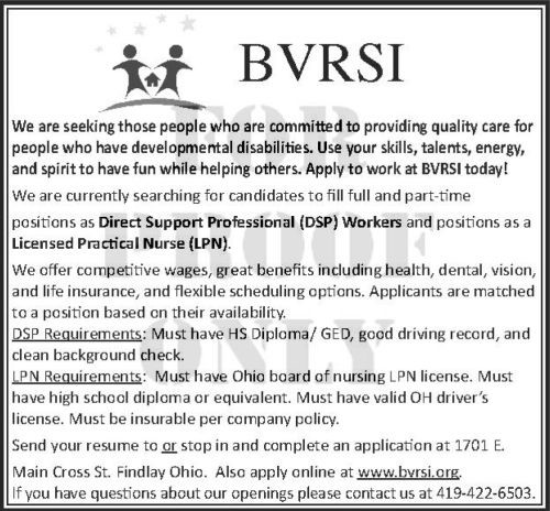 BVRSI Help Wanted Ad August 2015