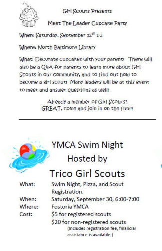 Girl Scout Events Flyer