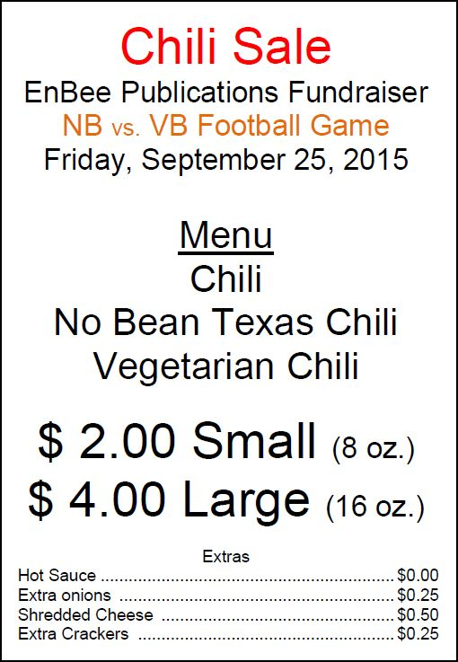 Chili Fundraiser at The Game Tonight