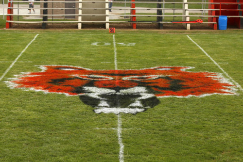NBHS FB vs Arcadia Tiger painted on field