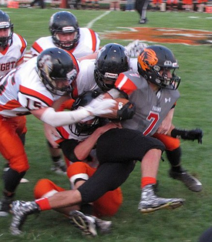 "NB's Noah Brian (7) and all of the Tigers offensive weapons were constantly surrounded by the Van Buren ""D"". (photo by JP)"