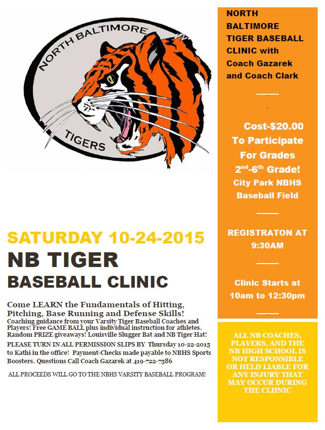 Marty Gaz Baseball Clinic Fall 2015 flyer