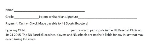 Marty Gaz Baseball Clinic permission slip