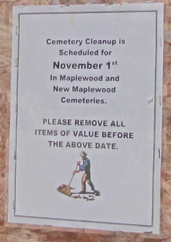 NB Village Cemetery Clean Up sign Oct. 2015 tight 480