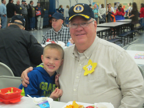 Mayor Mike Julien attended the veteran lunch with his grandson, Jonah Hagemyer.