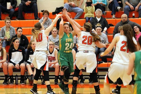 Bailey Boyer and Lacey Trumbull attack on defense