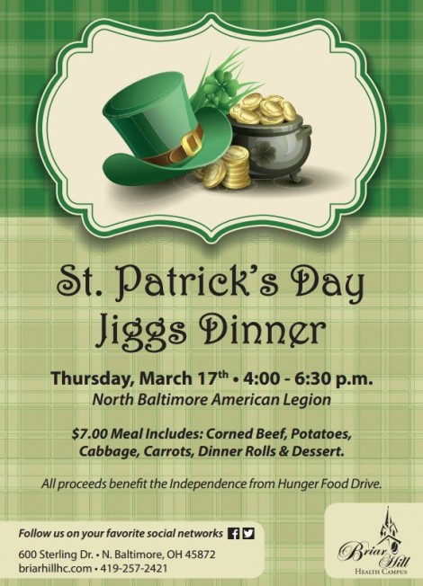 Briar Hill St. Patty Dinner flyer