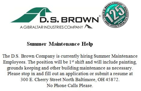 DS Brown Help Wanted Summer Maint.