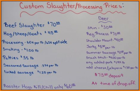 Custom Cuts Slaughter Prices July 1