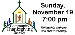 Community Thanksgiving Worship Service for North Baltimore is Sunday Evening