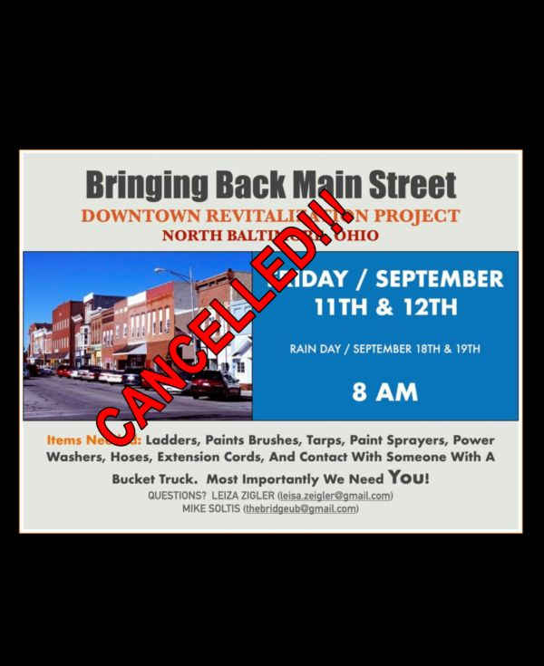 Downtown Clean-up Project Cancelled for Saturday