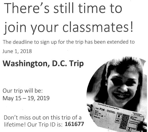UPDATED: NB Middle School DC Trip Discount & Sign-Up