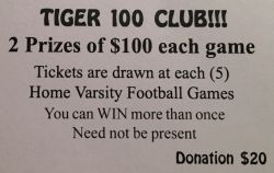 Tiger Golf 100 Club Raffle Tickets Available