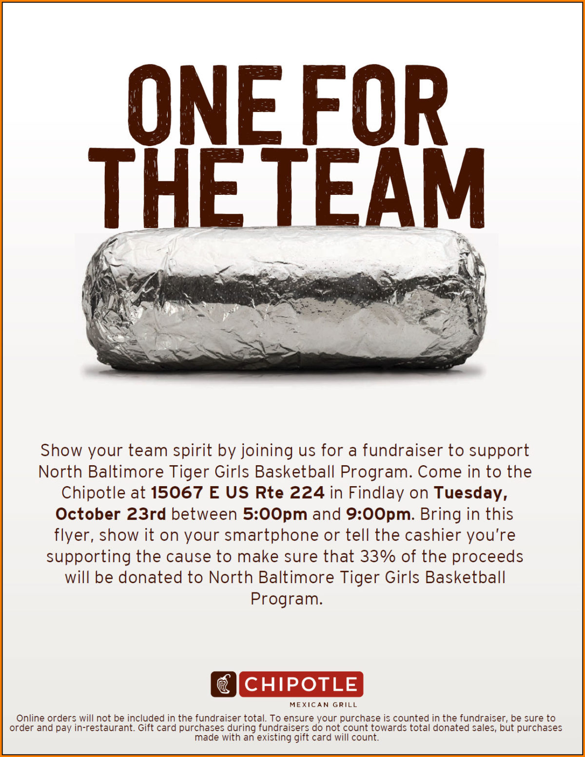 Upcoming Fundraiser for Tiger Girls Basketball Program………….