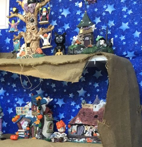 Halloween Village Display at NB Library