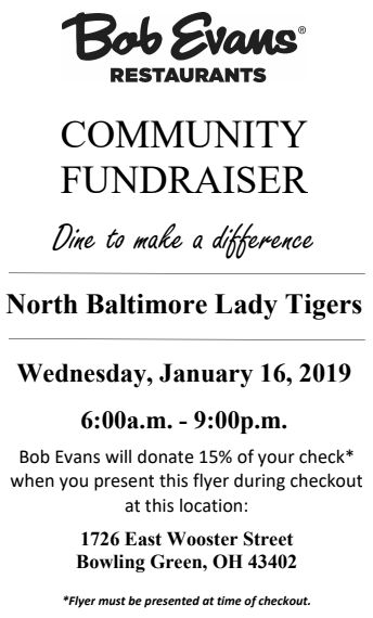 Lady Tiger B-ball Fundraiser at Bob Evans
