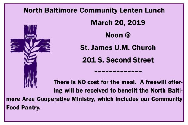 Lenten Lunch Info for March 2o