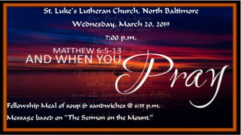 Fellowship Meal at 6:15pm on March 20th