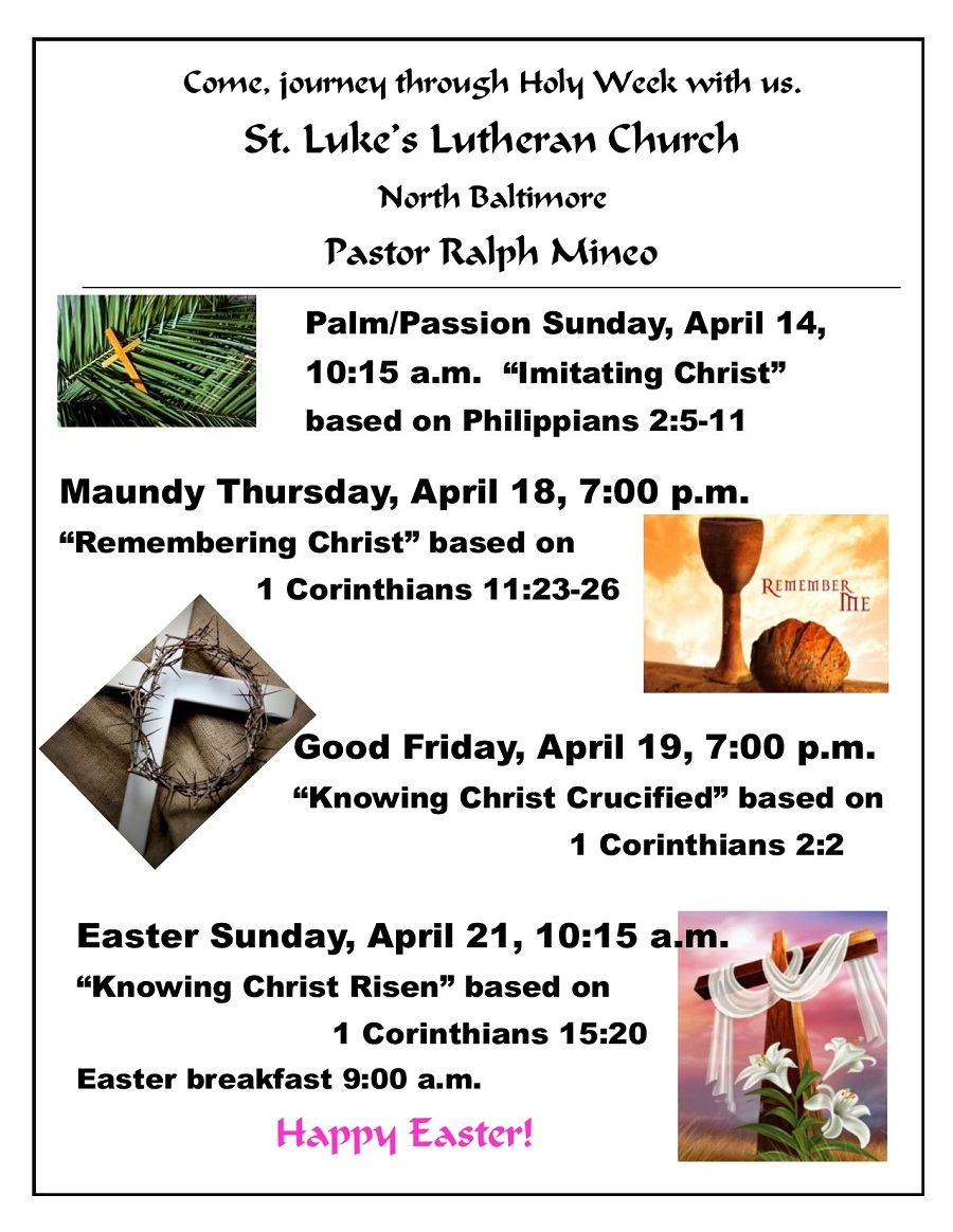 Holy Week Services at St. Luke's Church