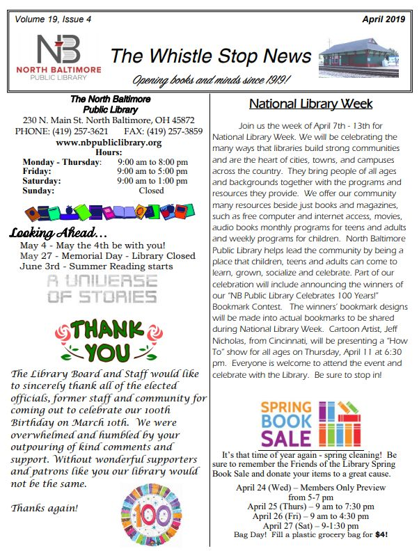 Library Newsletter April 2019