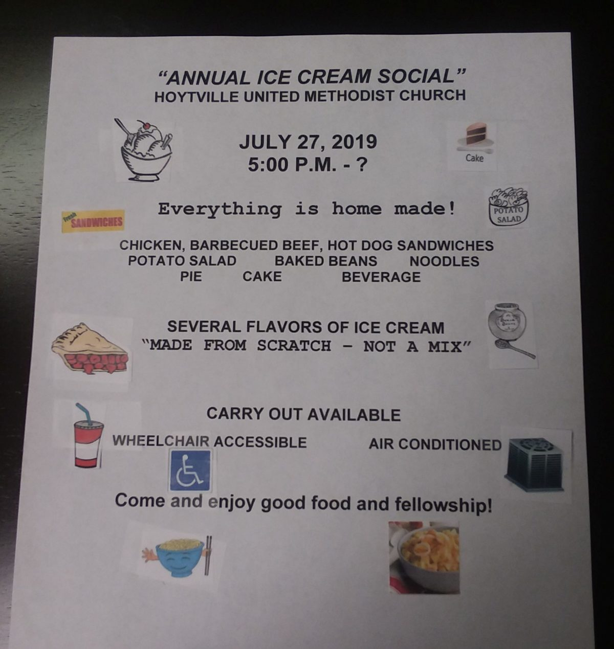 TOMORROW: Hoytville UMC Plans Ice Cream Social