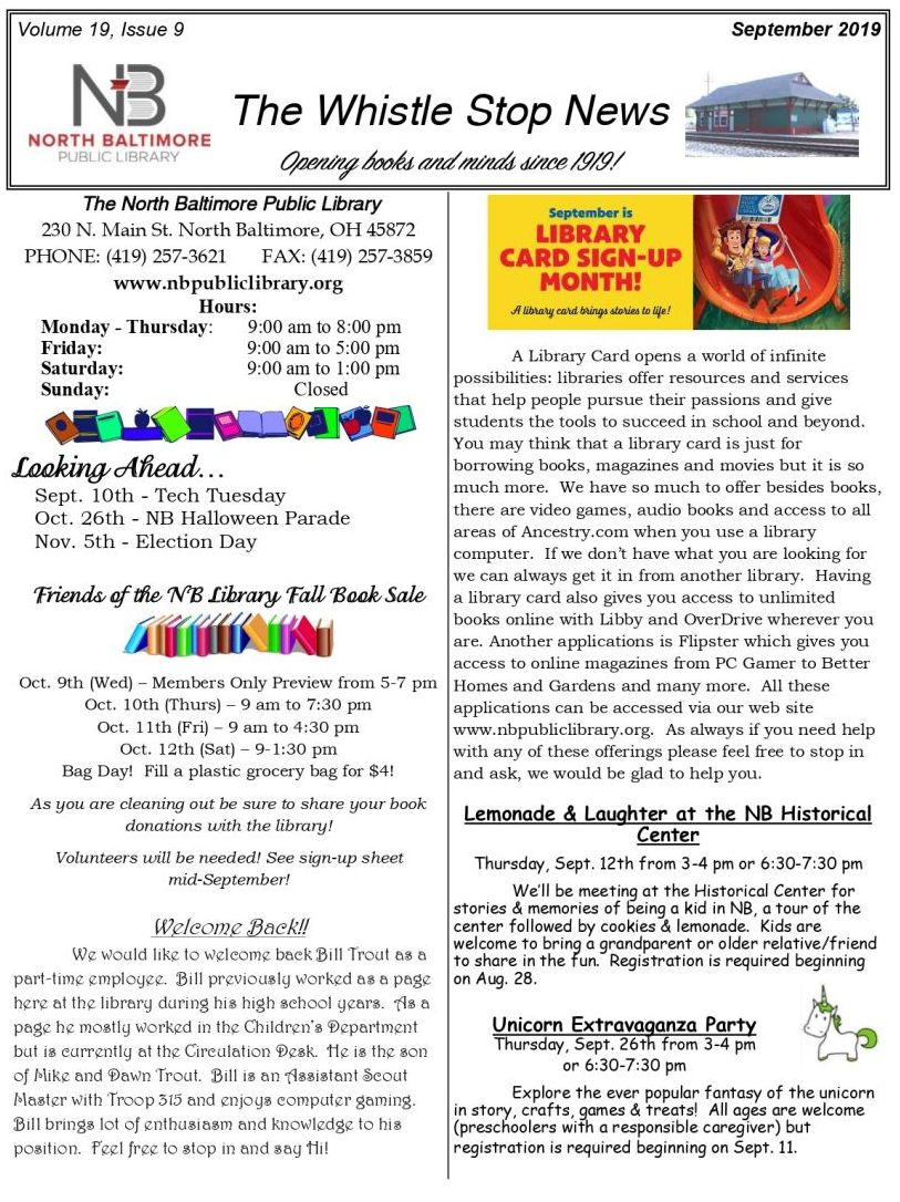 NB Library Newsletter Sept. '19
